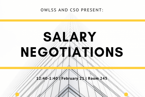 "White background with skyskraper silhouette black text that say ""Salary Negotiations"""
