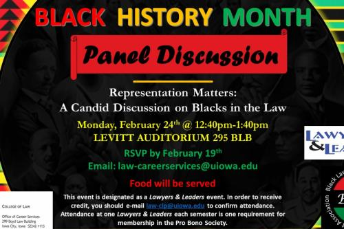Black background with yello red green and blue colors. Text in white red yellow and greed. Representation Matters Flier