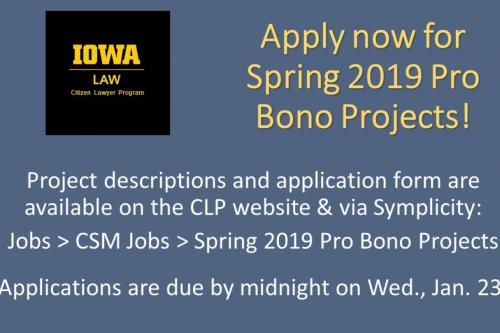 Apply now for Spring 2019 pro bono projects