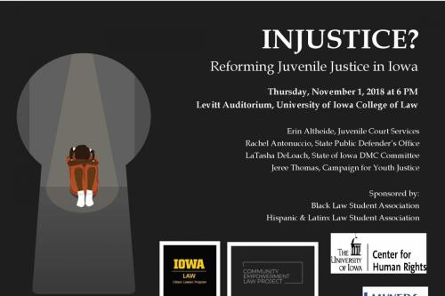 a flier about the event Reforming Juvenile Justice in iowa. Black background, white spotlight on a small brown girl wearing orange.
