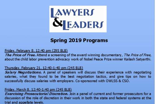 Lawyers and Leaders Schedule.