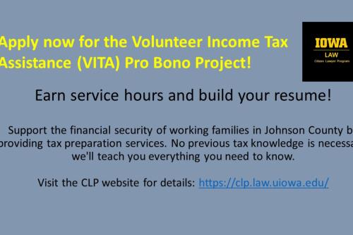 Apply now for the Volunteer Income Tax Assistance Pro Bono Project