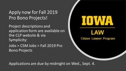 Apply now for Fall 2019 pro bono projects
