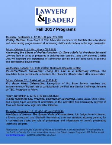 Lawyers & Leaders Program Schedule (Fall 2017)