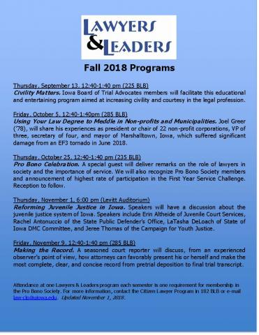 Blue poster about fall 2018 lawyers and leaders events