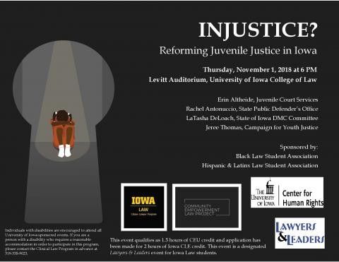 A flier for the Reformign the Juvenile Justice event