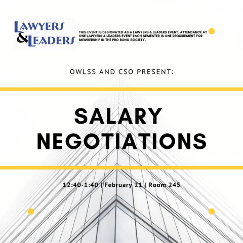 Salary negotiations flie with white background and skyskraper silhouette in the background.